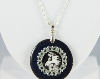 Mary Holding Jesus Holy Innocence Necklace Round Black and White  - Free Shipping