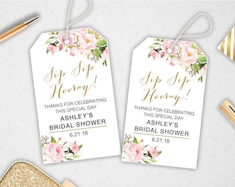 Sip Sip Hooray Tags // INSTANT DOWNLOAD // EDITABLE // Printable Thank You Tags // Bridal Shower // Baby Shower // Favors // #PBP85