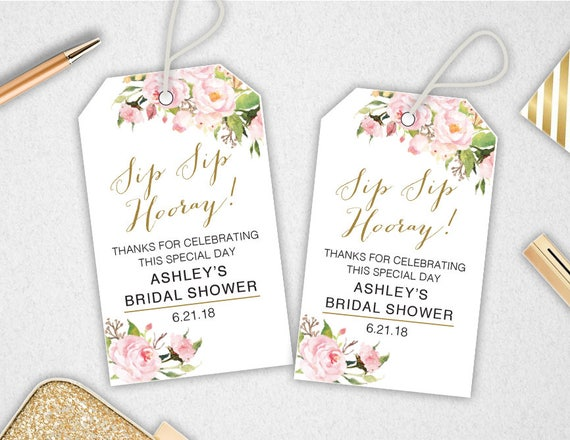 Free Printable Wedding Gift Tags: Sip Sip Hooray Tags // INSTANT DOWNLOAD // EDITABLE