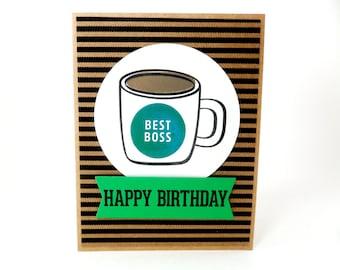 Boss Birthday Card, Best Boss Card, Birthday Card for Boss, Manager Birthday, Boss Birthday Greetings, Boss Coffee Cup Birthday, Coffee Mug