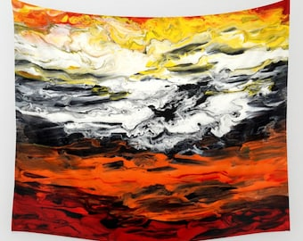 Wall Tapestry Wall Hanging Sofa Throw Abstract 17 orange red white black yellow Home Decor