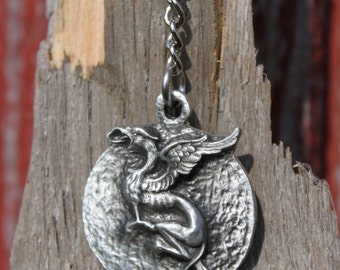Hand Made in US Lead Free Pewter Griffin Keychain mythical creature Pendant gift Made in Michigan gift Free Shipping