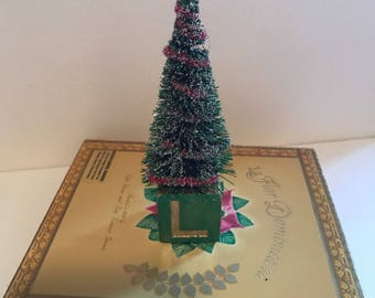 Handmade Christmas Tree Decoration on Vintage Baby-block