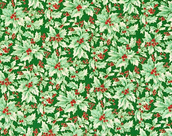Holy Berry Fabric Green Fabric Christmas Fabric Holiday Fabric R.E.D. International Textiles100% Cotton 1 Yard.