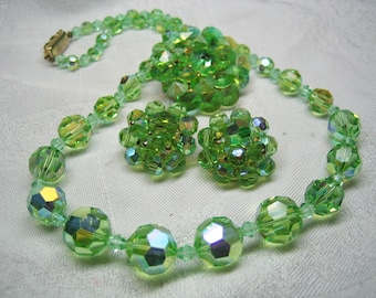Vintage Celery Green Cut Crystal Necklace Earrings Brooch