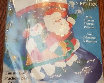Felt Stocking of Santa and a Snowman (Kit No. 5042)