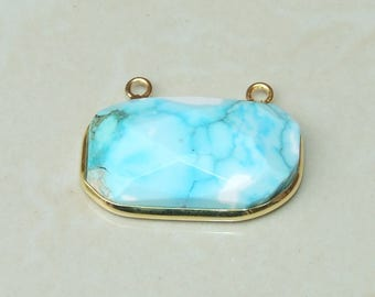 Howlite Pendant. Blue Howlite Pendant - 14K Gold Plated Bezel and Two Loops - 23mm x 35mm - 4655
