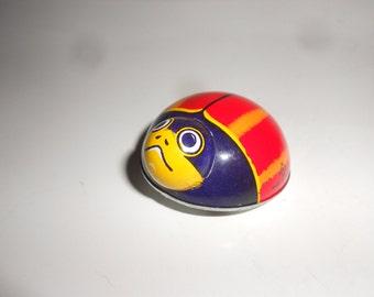 """Ladybug Tin Friction Litho Mechanical Toy Cute Red Vintage """"K"""" Japan  Marked"""