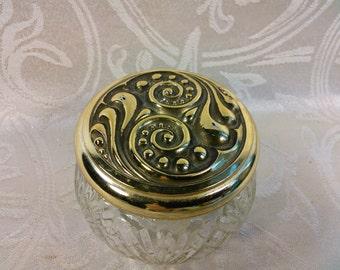 Vintage Avon Pressed Glass Jar With Ornate Gold Tone Lid Vanity Jar Dresser Jar Retro Decor Vintage Dresser Storage Container 3DsVintage