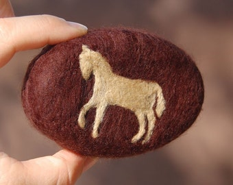 MADE TO ORDER Felted Soap Brown Soap with Horse (Sandalwood)