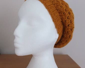 Gold/mustard slouchy beret by Little Gems Crochet