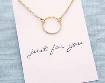 Karma Necklace | Eternity Necklace, Boho Jewelry, Dainty Minimalist Jewelry, Wife Birthday, Valentines Gift | Silver, Rosegold, Gold | X11