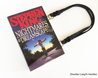 Nightmares and Dreamscapes Recycled Book Purse - Stephen King Repurposed Book Cover Bag - Horror Genre Book Cover Handbag
