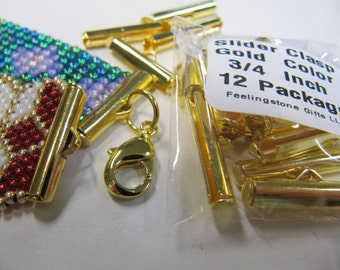 End Caps Slider Clasps, 3/4 Inch Gold Color, Loom Bead Patterns, Loom Findings,12 Pack, Fits Size 8 Or 11 Beads, Look Is Clean and Neat