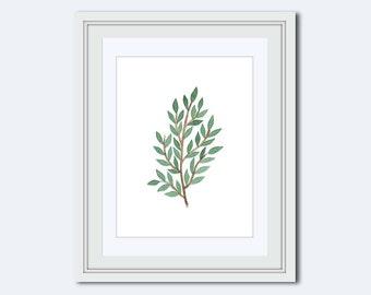 leaf branch print - leaf Wall Art - leaf decor - nature art - wall accents - modern print - Botanical Print - wall art print - Printable Art