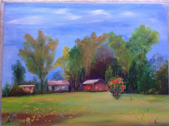 Barn Painting, The Flame Bush, Farm painting, Rustic, Midwestern Scene