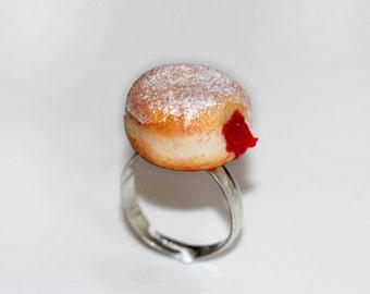Jelly Donut Ring - Hanukkah Jewelry - Jelly Doughnut Jewelry -Jam Filled Doughnut Ring - Food Jewelry -  Food Ring - Kawaii Ring
