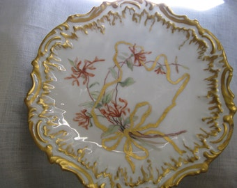 """Antique Limoges France Hand Painted Gold Gilded Cabinet Plate~~Artist Signed Sutphen """"92"""