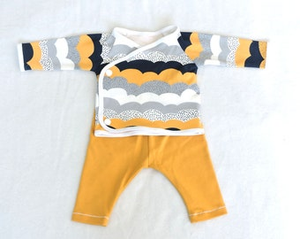 Newborn outfit shirt and pants baby ochre yellow