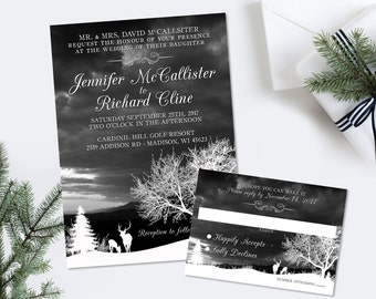 Deer Wedding Invitation Suite Rustic Wedding Invitation Deer Wedding Invitations Winter Wedding Digital Printable Template Suite RSVP DIY