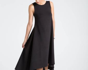 Black Summer Dress / Party Dress / Strapless Dress / Midi Dress / Oversize Dress / Loose Dress / Marcellamoda - MD0670