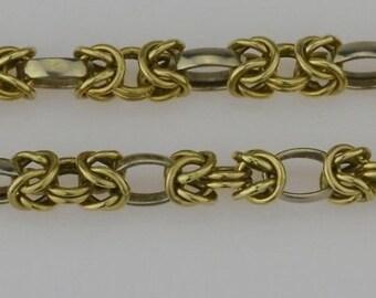 14k Yellow Gold Vintage Byzantine Link Bracelet 7.75'' Long