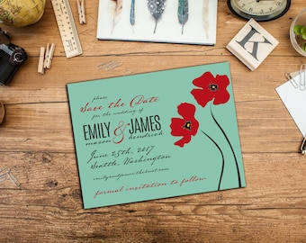 Poppies Save the Dates Post Cards or with Envelopes, Customized Announcement Cards, Engagement Announcement Cards, Save-the-Date Cards