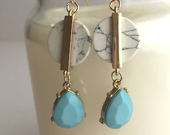 White and Black Marbed Earrings with Light Blue Raindrop Charm