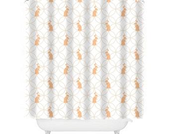 Kids Shower Curtain Bunny Bathroom Decor Ivory Girl Rabbit