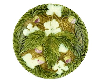 French Antique Majolica Strawberry Plate. Rustic Kitchen Green Majolica Leaf Wall Plate.
