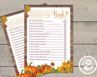 INSTANT DOWNLOAD: Bridal Shower Game - Fall In Love - How Well Do You Know the Bride?