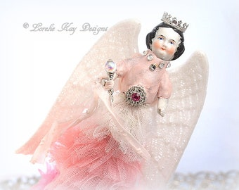Ombre Pink Angel Art Doll Assemblage Art Doll Tree Topper Sculpture Blonde Angel Girl OOAK Sculpted Lorelie Kay Designs