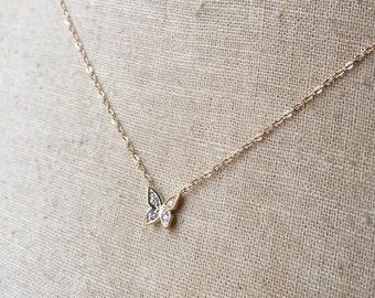 14k Gold Diamond Butterfly Necklace, Diamond Butterfly, Pave Diamond Necklace, Pave Diamond Butterfly, Gold Butterfly Necklace, Butterfly