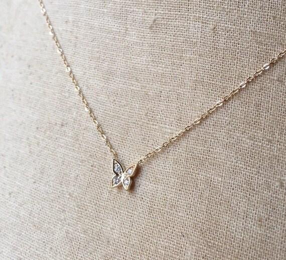 14k Gold Diamond Butterfly Necklace Diamond Butterfly Pave
