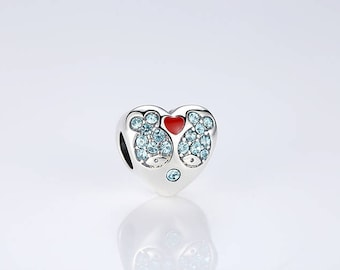 Little fishes in love and I LOVE YOU with red enamel and blue CZ 100% 925 Sterling Silver fit for Authentic pandora and european bracelets