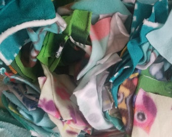 One Pound of Assorted Green Patterns and Hues Fleece Square Remnants