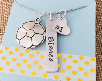 Soccer Necklace, Hand Stamped Soccer Necklace, Soccer Mom Necklace, Soccer Team, Girls Soccer Necklace , Hand Stamped Personalized