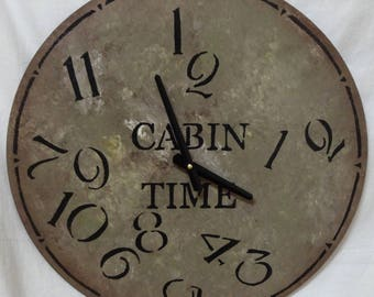 18 Inch CABIN TIME CLOCK in Warm Shades of Mixed Grays with Jumbled Numbers