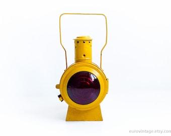 Vintage Railroad Lantern / Railway Signal Lamp / Industrial Lamp / Kerosene Yellow Vintage Lamp