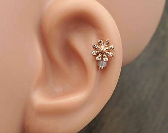 Daisy Rose Gold Stud Cartilage Earring Piercing 16g