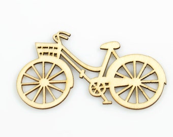 BICYCLE WOOD CUTOUT -  Vintage Bicycle with Basket Laser Cut Natural Wood Cutout (8.8cm)