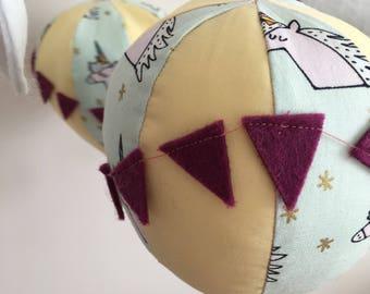 hot air balloon nursery mobile - unicorn