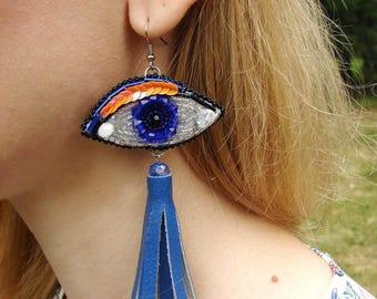 Eye Earrings, Statement Earrings, Beaded tassel earrings, Long tassel, Blue Tassel, Eye Jewelry, Evil Eye Protection, Evil Eye Earrings