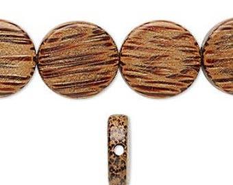 26pcs 15mm Natural Waxed Flat Round Coin Wood Natural Beads Disc Macrame Bead