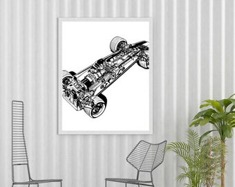 "Race Car Poster, Automotive Art, Black and White Decor, Printable Art, Retro Decor, Race Car, Garage Art, Automotive Decor, 8x10"", 11x14"""