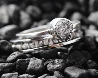 Gold Engagement Ring Fine Jewelry Grey Diamond Ring Engagement Ring White Gold Ring Natural Diamond Ring Wedding Set Raw Diamond Ring