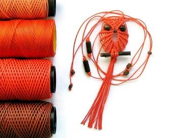 Orange Macrame Owl Necklace