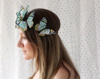 Teal Butterfly Crown - princess, fairy, bride, turquoise, woodland crown