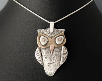 Owl Pendant - Sterling Silver,  Brass and Copper with 18 inch Sterling Snake Chain - One of a Kind