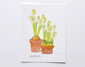 Floral Daffodils  bright and cheery illustrated card
